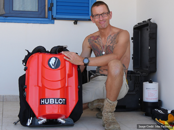 Phil Short, rebreather instructor trainer, preparing diving equipment.