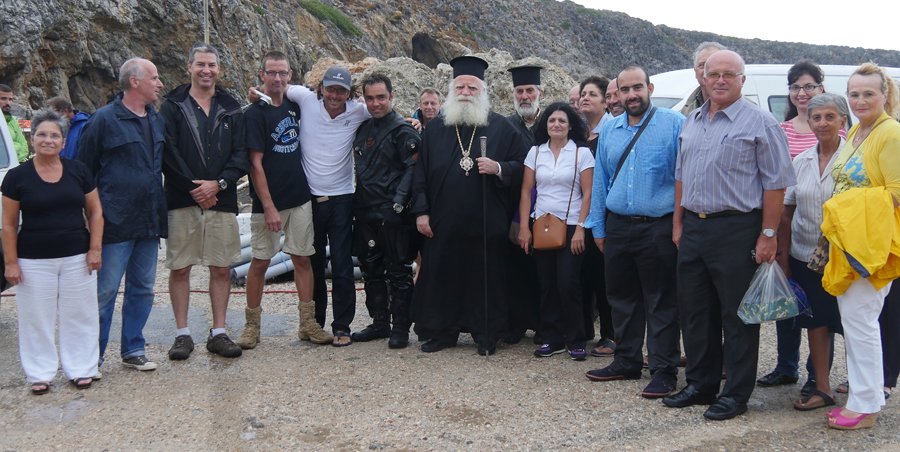 The Return to Antikythera team with the Metropoliti of Kythera & Antikythera, Mayor of Kythera and Antikythera and guests.