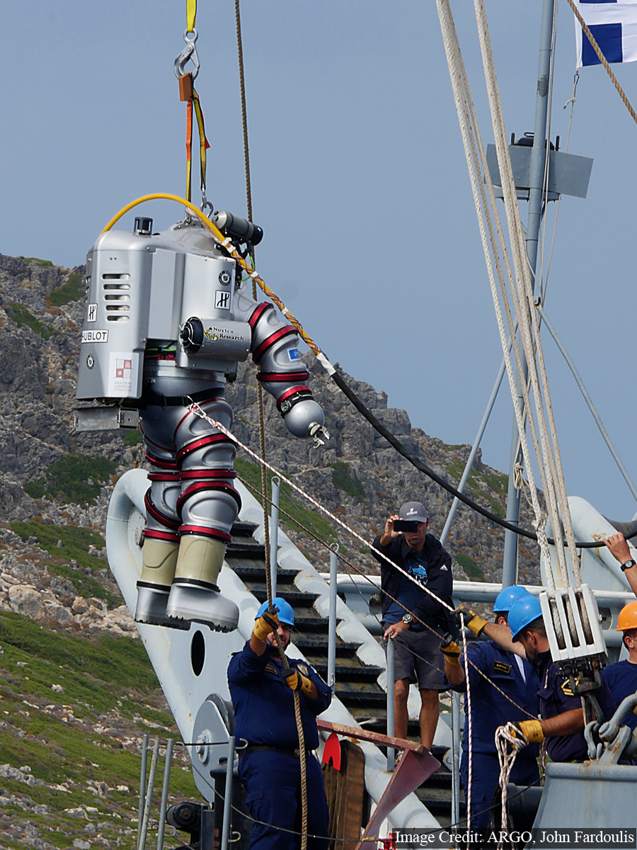 Hellenic Navy diver/Exosuit pilot Fotis Lazarou is the first Greek person to dive the Exosuit in Antikythera.