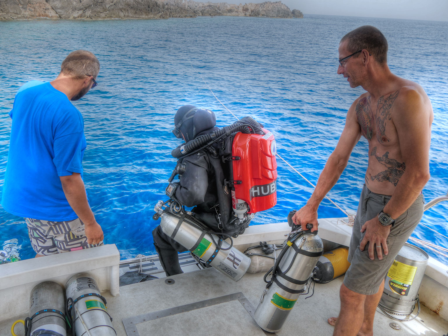 Alexander Sotiriou getting ready for the first dive of the day, to move the underwater dredge.